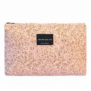 Zip Pouch Large Pixel Pink Front website ONE NINE EIGHT FIVE b