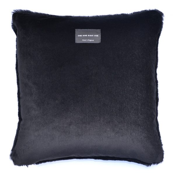 Sheepskin Cushion Black back ONE NINE EIGHT FIVE