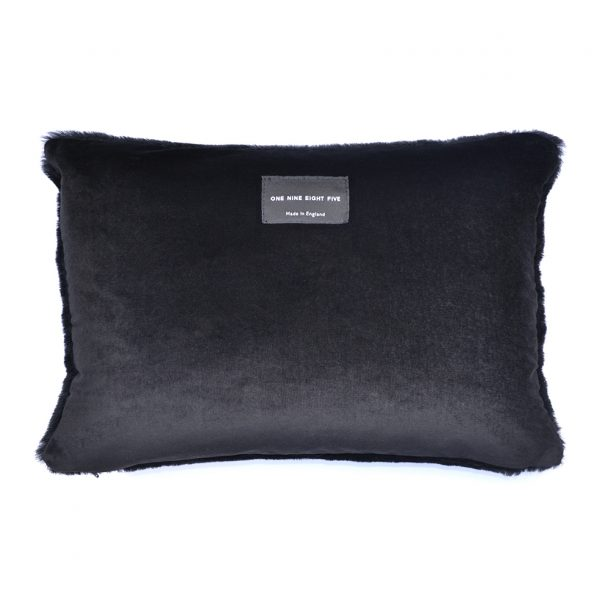 Sheepskin Cushion Bolster Wavy Black Back ONE NINE EIGHT FIVE