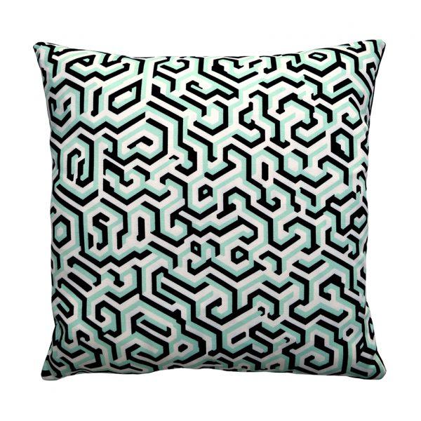 Maze Cushion Blue One Nine Eight Five Website