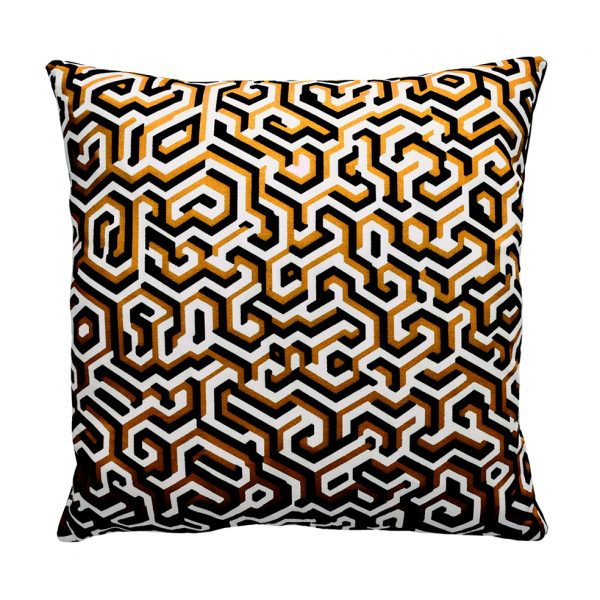 Maze Cushion Ochre ONE NINE EIGHT FIVE Website