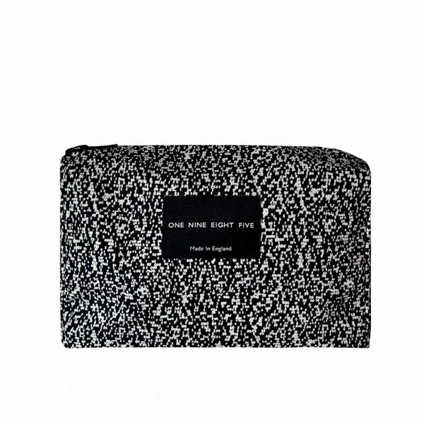 Zip Pouch Small Pixel Mono Front website ONE NINE EIGHT FIVE b
