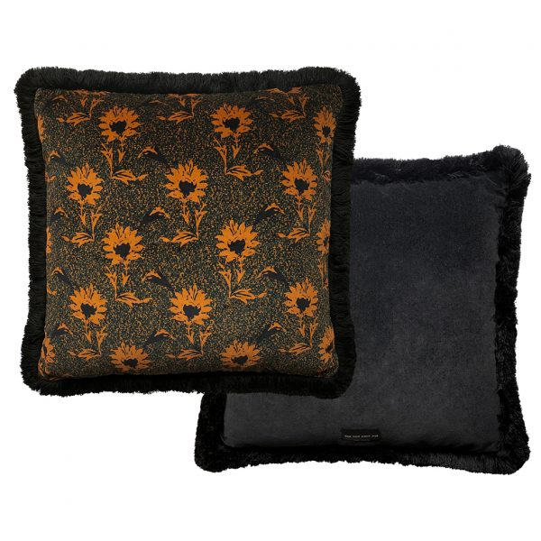 Flora Fringe Cushion Ochre 50x50cm Front and Back One Nine Eight Five Website