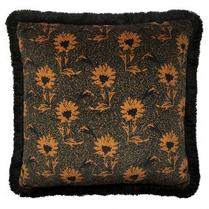 Flora Fringe Cushion Ochre 50x50cm One Nine Eight Five Website