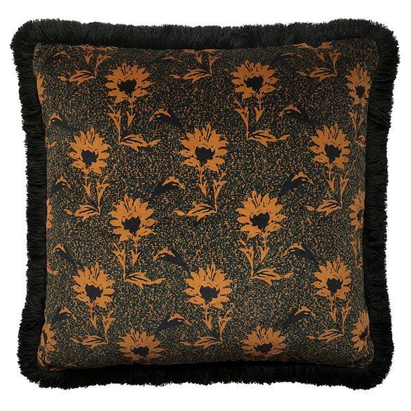 Flora Fringe Cushion Ochre 50x50cm One Nine Eight Five Website
