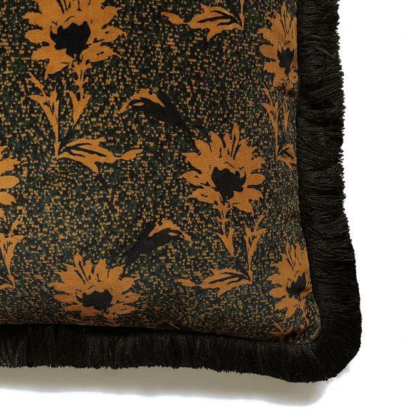 Flora Fringe Cushion Ochre Detail One Nine Eight Five Website