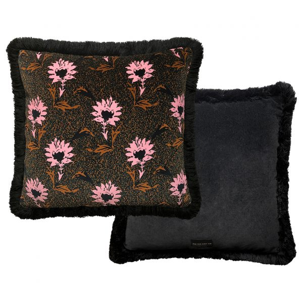Flora Fringe Cushion Pink 40x40cm Front and Back One Nine Eight Five Website