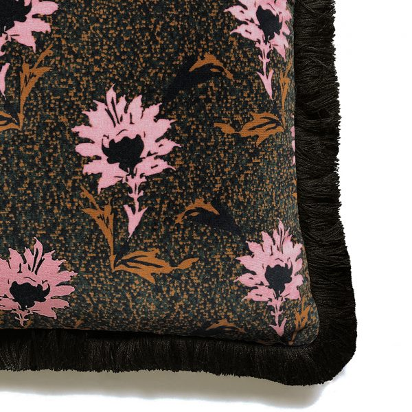 Flora Fringe Cushion Pink Detail One Nine Eight Five Website