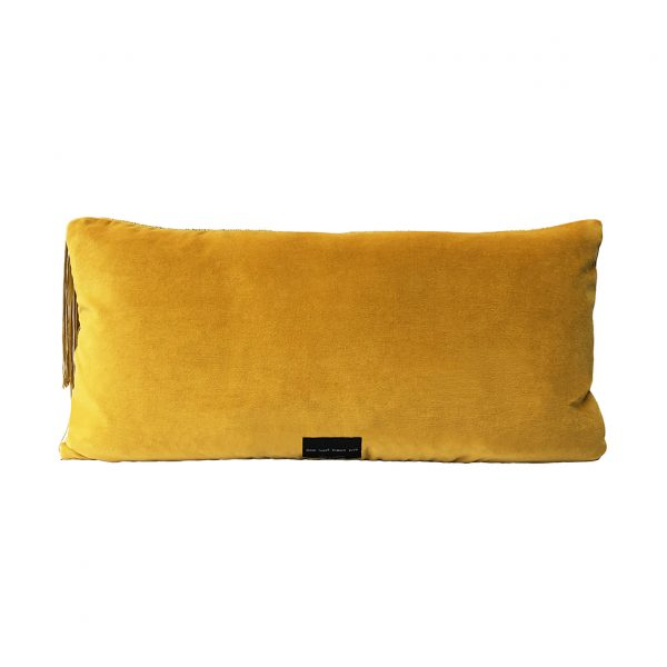 Tassel Cushion Ochre Back 30x60cm Website One Nine Eight Five